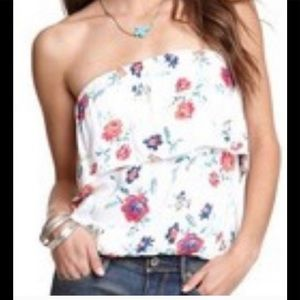 Womens PacSun Black Poppy Floral Strapless Top S